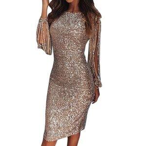 Women's sequin tassel long sleeve dress, rose gold